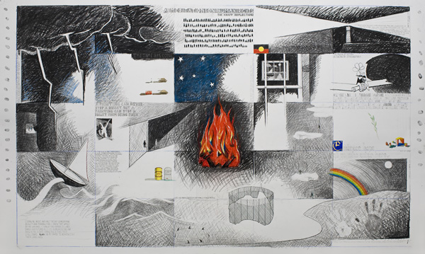 Illustrated patchwork of human rights imagery around a fire