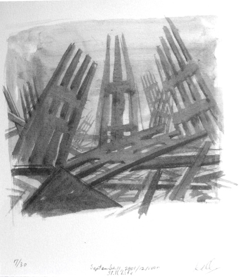 Sketch of steel framework after fall of the twin towers