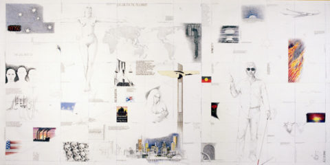 Illustrated patchwork of human rights imagery