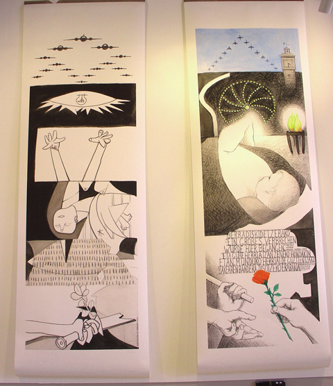Two large panels of illustrations commemorating Picasso's 'Guernica'