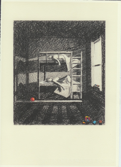 Illustration of sleeping children with toys scattered by their bed