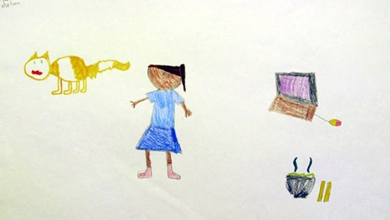 Child's drawing of girl, cat, computer and cup