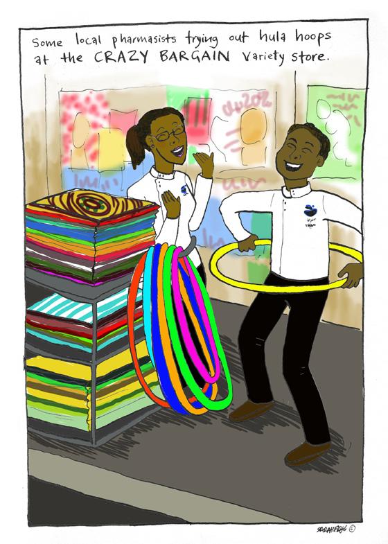 Cartoon of shop keeper playing with hula hoop