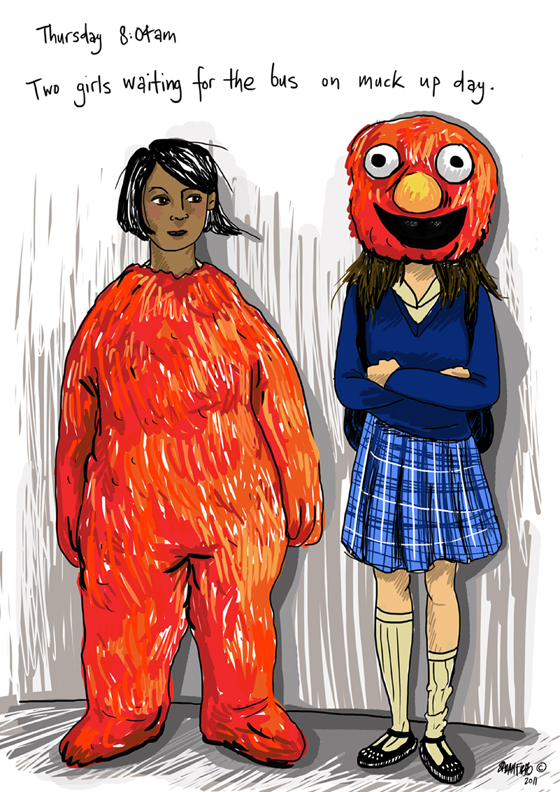 Cartoon of two young girls dressed for muck up day