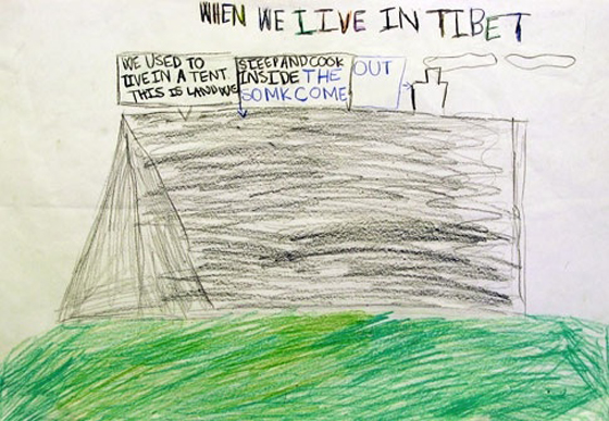 Child's drawing of tent his family lived in in Tibet