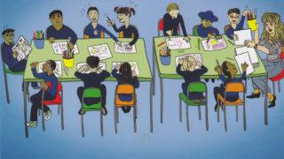 Cartoon of children in drawing class