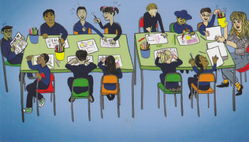 Cartoon of children in drawing class