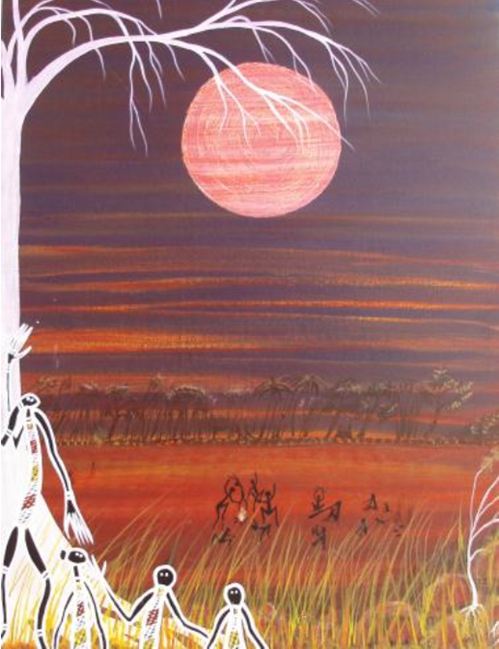 Tim Hardy, Activities in Moon Dance (76 X 51) Medium: Acrylic on board