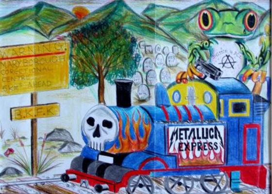 Stuart Palmer, Metallica Express (32X29.5) Medium: Colour pencil on paper