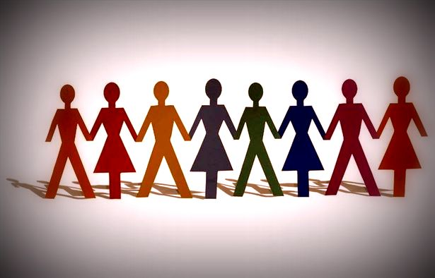 A line of people in different colours