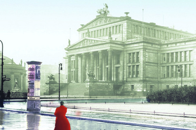 Woman in red coat in Berlin