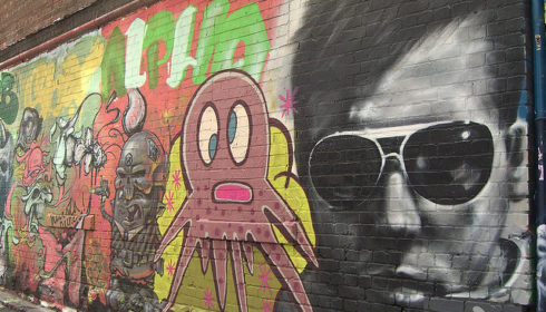 Street art, graffiti of James Dean and an Octopus in a Melbourne Laneway