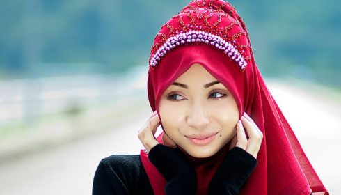 Woman wearing red hijab