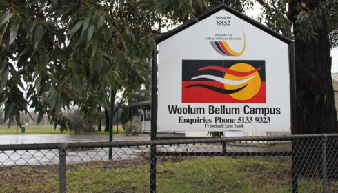 Photo of sign outside Woolum Bellum College, Morwell - Koorie Pathways School