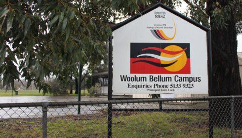 Photo of sign outside Woolum Bellum College, Morwell - Koorie Pathways School