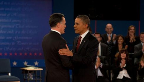 Photo of Barack Obama and Mitt Romney before US Presidential debate