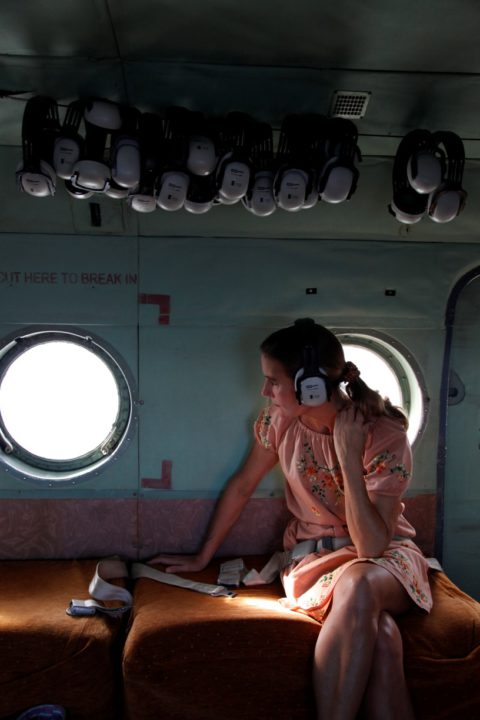 Alias Ruby Blade - shot of Kirsty Sword in a plane