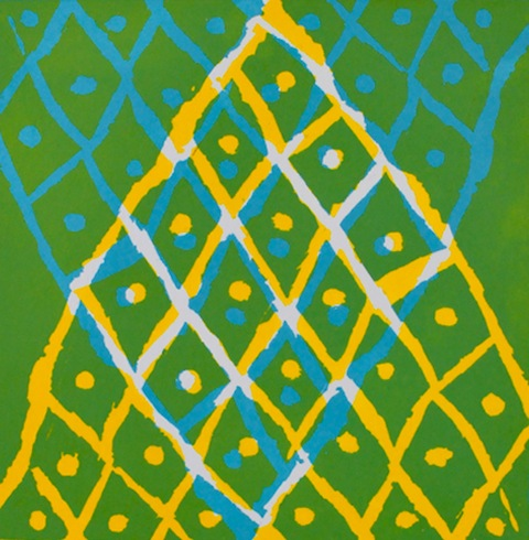 Nadia Ahmed, Pineapple, relief print on Magnani paper, 2013, courtesy of The Ownership Project