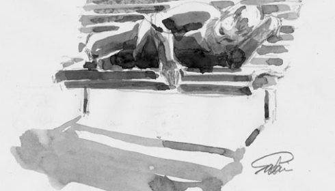 sketch of a homeless person lying on a bench