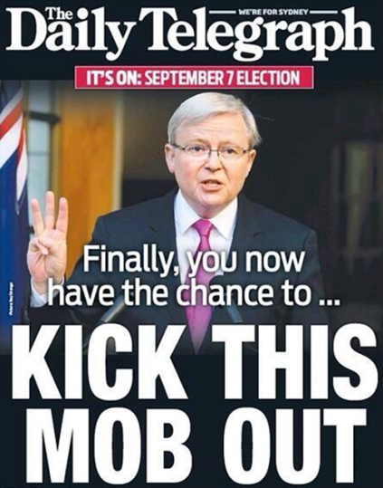 'Kick this mob out' - Daliy Telegraph front page