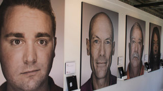 Close ups of faces of HIV infected persons