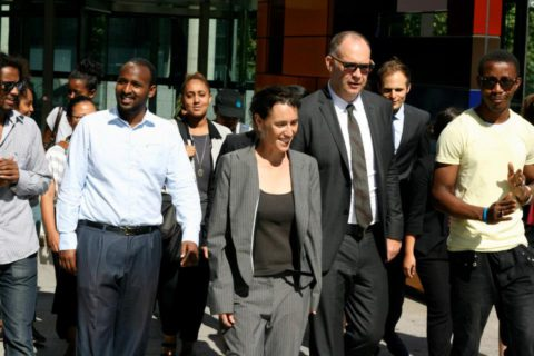 The five applicants and their legal team leave the Federal Court. Photo credit: Charandev Singh.
