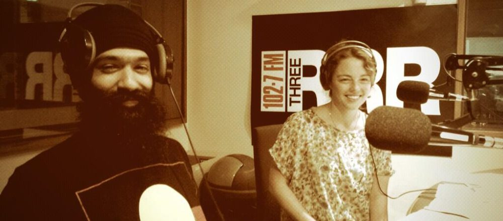 L-Fresh the Lion in the RRR studio with Rachel Ball.