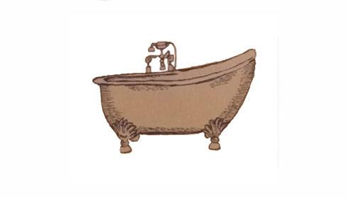 Old cast iron bathtub