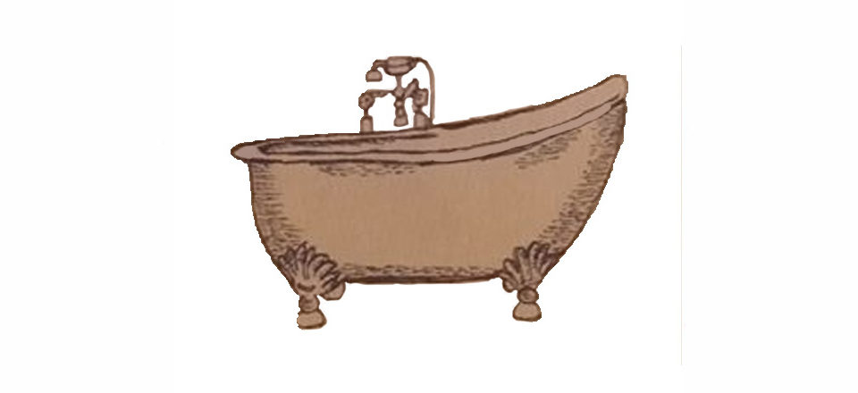 Old cast iron bathtub