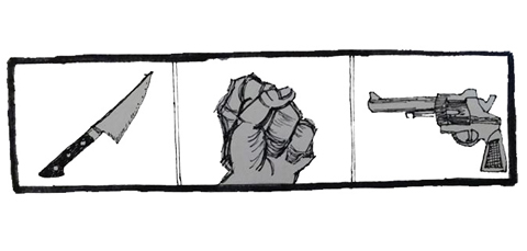 panel of knife, fist, gun