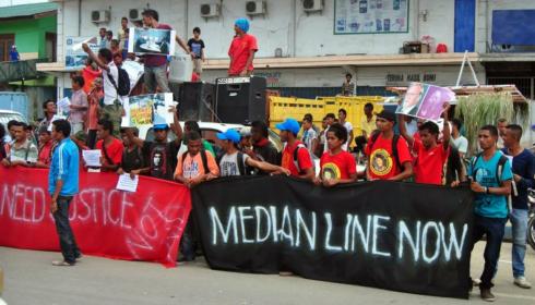 PROTESTS OUTSIDE THE AUSTRALIAN EMBASSY IN DILI, TIMOR-LESTE, 2013. LA'O HAMUTUK
