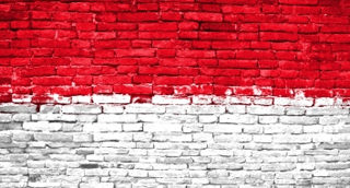 Indonesian flag painted on bricks
