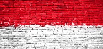 Indonesian flag painted on bricks