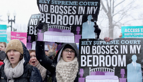 Demonstrators rally outside of the U.S. Supreme Court during oral arguments in Sebelius v. Hobby Lobby March 25, 2014. Credit: Chip Somodevilla, Getty.