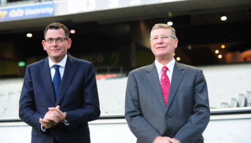 Daniel Andrews and Denis Napthine differ on same sex adoption. Tracey Nearmy/AAP