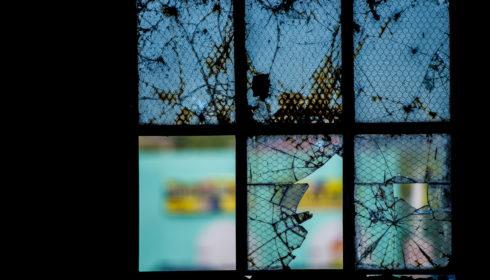 Broken Glass In Inside Silhouette Window