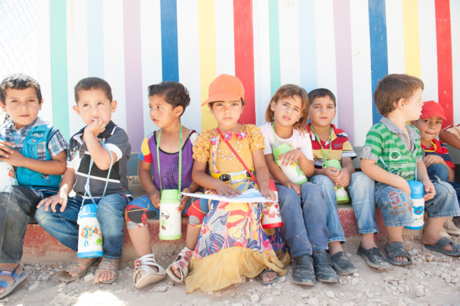 Syrian children at the Save the Children kindergarten