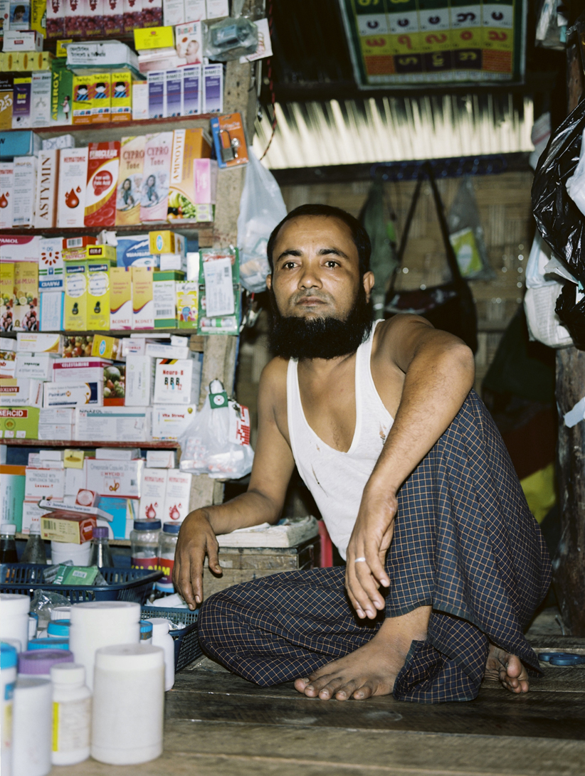 'Rohingya man selling medical supplies in market' - It is illegal for anyone to leave or enter the camps and villages without prior permission. Apart from some assistance from international NGOs, the Rohingya in IDP camps lead an isolated existence.