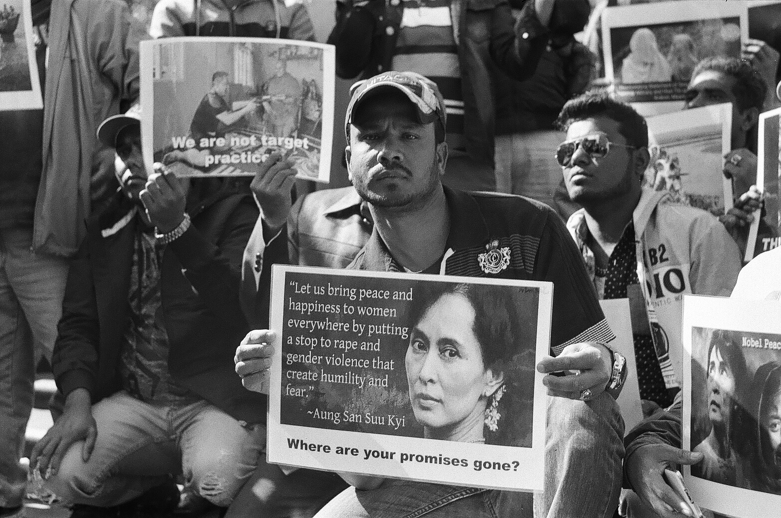 Protesters' signs at the Rohingya vigil. Photo: Ali MC