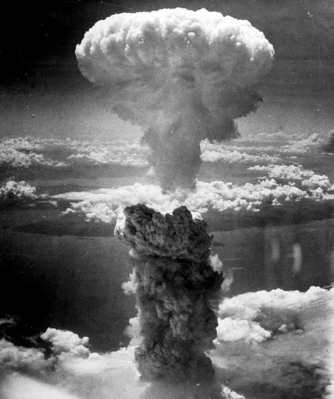The mushroom cloud of the atomic bombing of the Japanese city of Nagasaki on August 9, 1945.