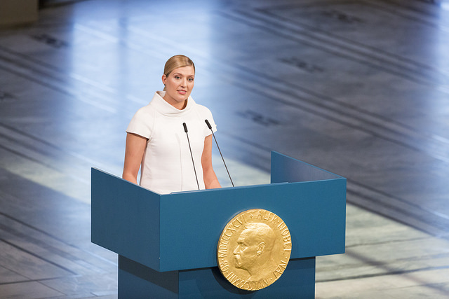 Beatrice Fihn, Executive Director of ICAN, speaks at the 2017 Nobel Peace Prize Ceremony. ICAN.