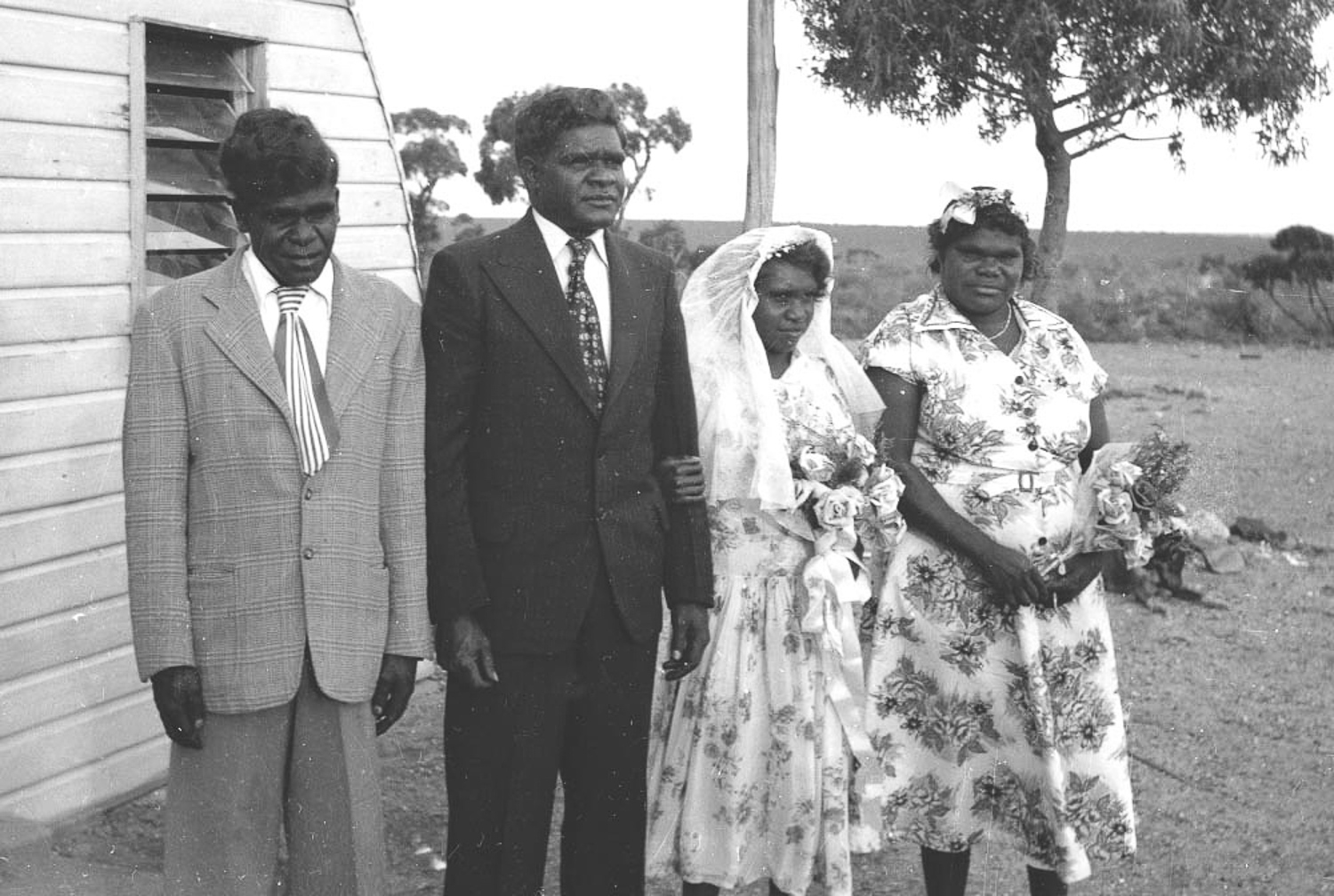 Don and May Sinclair on their wedding day. As the influence of the missionaries began to take hold, Anangu would adopt western cultural practices. The Sinclair's children and grandchildren now live in Tjuntjuntjara.