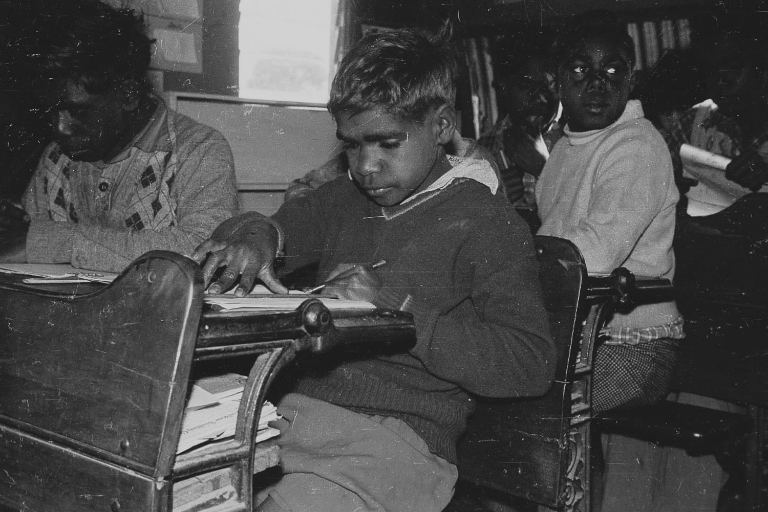 Ron Sinclair (younger brother of Don, above) at the school in Cundeelee. Aboriginal and Torres Strait Islander children all across Australia were forcibly removed from their parents and sent to schools in order to be assimilated. Many children were never returned, becoming what is now known as the 'Stolen Generations'. Fortunately, the remote location of Cundeelee mission meant that children could still have access to their families, and maintain their language and cultural practices.
