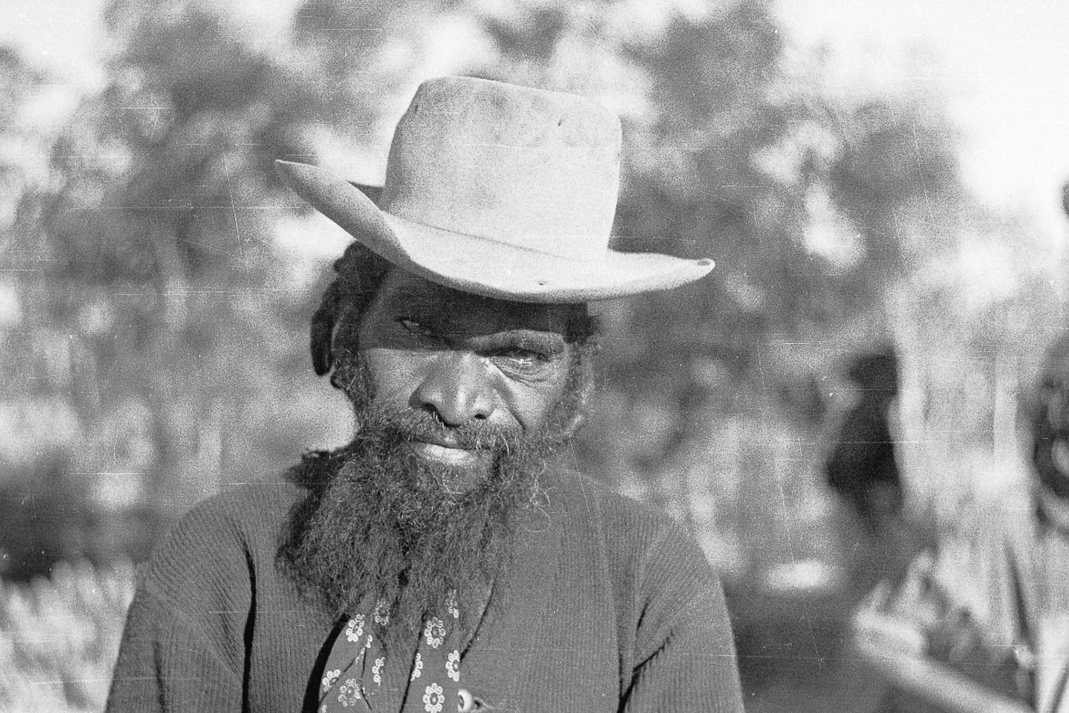 Frank Hogan (relative of Rusty Hogan, above) one of the many Anangu people 'brought in' to Cundeelee mission from Spinifex Country. Many of the original elders who were brought in from the bush are passing away, making historical collections of photographs such as these extremely valuable.