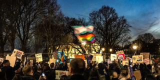 Community leaders, parents, kids, doctors, lawyers, assemble in front of the White House to protest the non-science based policy of segregating LGBTQ children in public schools based on the schools' determination of their gender identity.