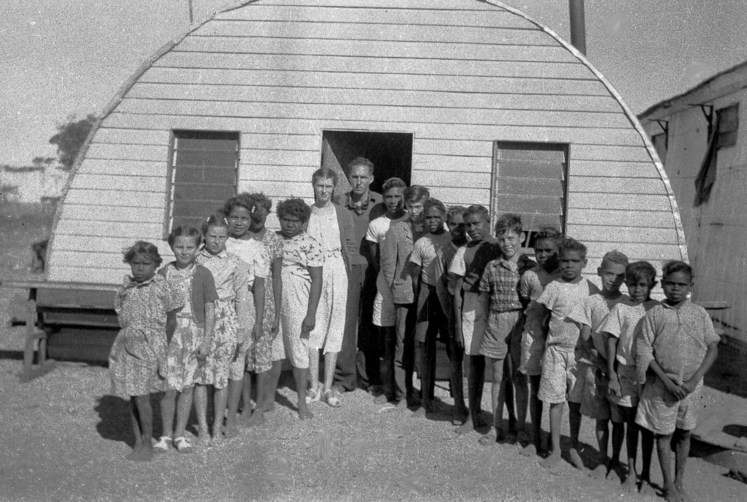 Part of the assimilation policy meant taking Anangu children from their parents to send them to school. Students would be taught in English and learn a western curriculum.