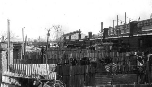Photograph of workmen's cottages in Adelaide, SA, Australia, 1920 (State Library of South Australia)
