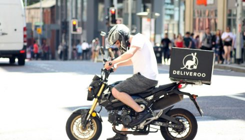 delivery person on bike